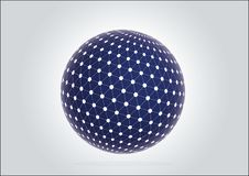 3d blue sphere with network globe technology sign vector illustration