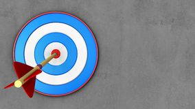 3d blue target with arrow. 3d illustration of blue target with arrow over concrete background Royalty Free Stock Photo