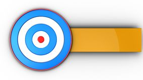 3d blue target with blank. 3d illustration of blue target over white background Stock Images