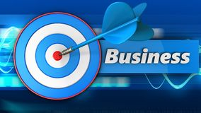 3d blue target with business sign. 3d illustration of blue target with business sign over blue waves background Royalty Free Stock Photo