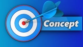3d blue target with concept sign. 3d illustration of blue target with concept sign over blue background Royalty Free Stock Photos