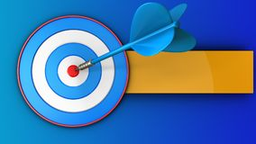 3d blue target with blue dart. 3d illustration of blue target with blue dart over blue background Royalty Free Stock Image