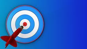 3d blue target with dart. 3d illustration of blue target with dart over blue background Royalty Free Stock Image