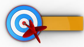 3d blue target with dart. 3d illustration of blue target with dart over white background Stock Photos