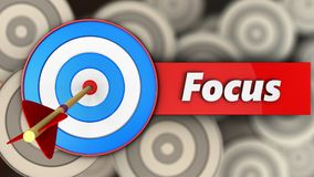 3d blue target with focus sign. 3d illustration of blue target with focus sign over multiple targets background Royalty Free Stock Image