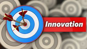 3d blue target with innovation sign. 3d illustration of blue target with innovation sign over multiple targets background Royalty Free Stock Image