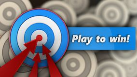 3d blue target with play to win sign. 3d illustration of blue target with play to win sign over multiple targets background Stock Photography