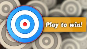 3d blue target with play to win sign. 3d illustration of blue target with play to win sign over multiple targets background Royalty Free Stock Image