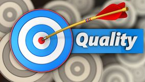 3d blue target with quality. 3d illustration of blue target with quality over multiple targets background Royalty Free Stock Photos