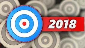 3d blue target with 2018 sign. 3d illustration of blue target with 2018 sign over multiple targets background Royalty Free Stock Photos