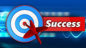 3d blue target with success. 3d illustration of blue target with success over blue waves background Royalty Free Stock Photo