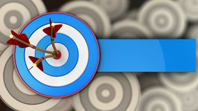 3d blue target with three arrows. 3d illustration of blue target with three arrows over multiple targets background Royalty Free Stock Photography