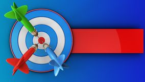 3d blue target with three darts. 3d illustration of blue target with three darts over blue background Royalty Free Stock Images