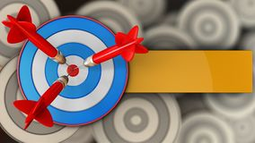 3d blue target with three darts. 3d illustration of blue target with three darts over multiple targets background Stock Images
