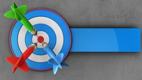 3d blue target with three darts. 3d illustration of blue target with three darts over concrete background Royalty Free Stock Photography