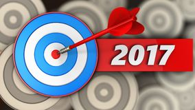 3d blue target with 2017 year sign. 3d illustration of blue target with 2017 year sign over multiple targets background Royalty Free Stock Image