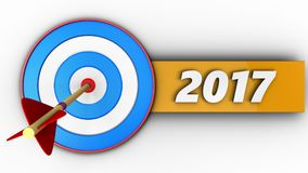 3d blue target with 2017 year sign. 3d illustration of blue target with 2017 year sign over white background Stock Image