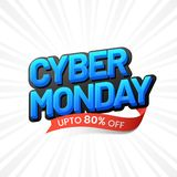 3D, blue text Cyber Monday with 80% discount offer on white ray. Background. Sale template or flyer design stock illustration