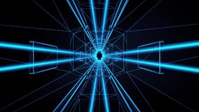 3D Blue Tron Style Tunnel Loopable Motion Background stock video footage