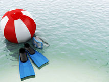 3d blue water with beach ball and swimming equipment. Royalty Free Stock Photography
