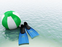 3d blue water with beach ball and swimming equipment. Stock Images