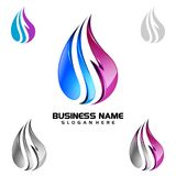 Water Drop, Oil, Gas, 3d blue water drop vector logo design. 3d blue water drop vector logo design Stock Photo