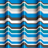 3D blue waves seamless pattern. Royalty Free Stock Photos