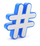 3D blue-white hashtag sign Stock Photography