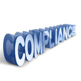 3d blue word COMPLIANCE. White background Stock Images