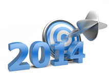 3D blue Year 2014 with a target. Royalty Free Stock Photos