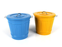 3d blue and yellow plastic bucket. Isolated on white background Royalty Free Stock Photo