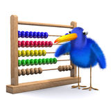 3d Bluebird with abacus. 3d render of a bluebird with an abacus Royalty Free Stock Image