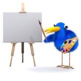 3d Bluebird is an artist. 3d render of a bluebird with an easel and paintbrush Stock Image