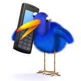 3d Bluebird chats on a cellphone. 3d render of a blue bird chatting on a mobile phone Stock Photography