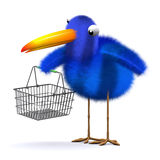 3d Bluebird with an empty shopping basket Stock Images