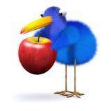 3d Bluebird finds an apple. 3d render of a bluebird with an apple Stock Photos