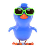 3d Bluebird flying wearing green sunglasses. 3d render of a bluebird wearing green sunglasses and flying happily along Royalty Free Stock Images