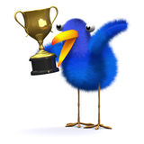 3d Bluebird with a gold trophy Royalty Free Stock Photos