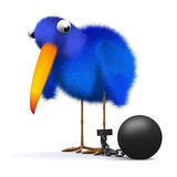 3d Bluebird has a ball and chain. 3d render of a bluebird with ball and chain Stock Images