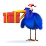 3d Bluebird has a gift. 3d render of a blue bird wearing a Santa Claus hat and holding a Christmas gift in his beak Stock Photography