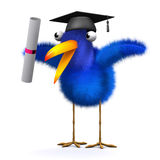 3d Bluebird has graduated. 3d render of a blue bird wearing a mortar board and holding a diploma scroll Stock Photo