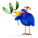 3d Bluebird has some mistletoe. 3d render of a bluebird wearing a Santa Claus hat and holding some mistletoe Royalty Free Stock Image