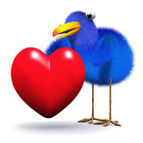 3d Bluebird hugs a heart Royalty Free Stock Photo