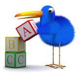 3d Bluebird learns his alphabet. 3d render of a blue bird using alphabet blocks Stock Images