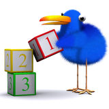 3d Bluebird learns to count. 3d render of a blue bird counting with numbered wooden blocks Stock Photography