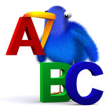 3d Bluebird with letters of the alphabet Stock Images