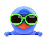 3d Bluebird looking over the top in green sunglasses. 3d render of a bluebird wearing green sunglasses looking over the top Stock Photos