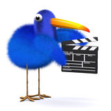 3d Bluebird is making a movie. 3d render of a blue bird with a clapperboard Stock Photos