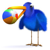 3d Bluebird plays ball at the beach. 3d render of a bluebird with a beachball Stock Image
