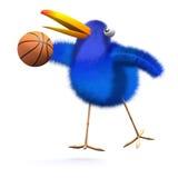 3d Bluebird plays basketball. 3d render of a bluebird playing basketball Stock Photos